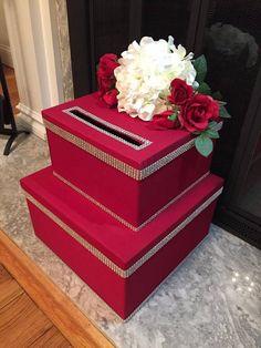 Wedding Card Box-Red and Silver Wedding Card by TwoCraftyMrs