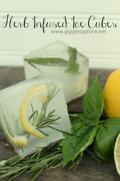 Herb Infused Ice Cubes . . . http://gigglesgalore.net/herb-infused-ice-cubes/