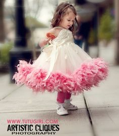 Flower Girl Dress   Couture Tutu Dresses with Feathers