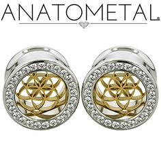 "5/8"" Gemmed Eyelets in ASTM F-138 stainless steel with bronze Seed of Life Inserts: CZ gemstones"
