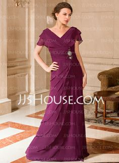 Mother of the Bride Dresses - $146.99 - A-Line/Princess V-neck Floor-Length Chiffon Mother of the Bride Dress With Ruffle Beading (008024443) http://jjshouse.com/A-Line-Princess-V-Neck-Floor-Length-Chiffon-Mother-Of-The-Bride-Dress-With-Ruffle-Beading-008024443-g24443