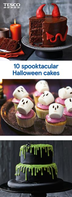 10 spooky Halloween cakes - - These showstopping Halloween cakes make the perfect party centrepiece. Our sweet & savoury Halloween baking ideas are the ultimate tasty treats, with a few hidden tricks! For more Halloween recipes visit Tesco Real Food. Halloween Donuts, Spooky Halloween Cakes, Halloween Torte, Bolo Halloween, Halloween Sweets, Halloween Baking, Halloween Food For Party, Halloween Cake Decorations, Halloween Chocolate Cake