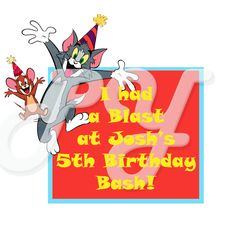 Tom and Jerry personalized party favor
