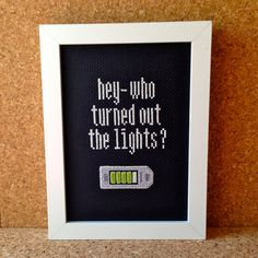 "Doctor Who ""Who Turned Out The Lights?"" GLOW-in-the-DARK Cross-Stitch in 5x7"" Frame"