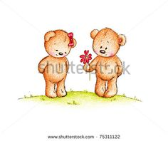 a couple of cute teddy bears on white background