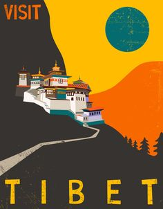 Poster | TIBET TRAVEL POSTER von Jazzberry Blue | more posters at http://moreposter.de