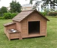 Dog House Plans DIY with water bowls for summer