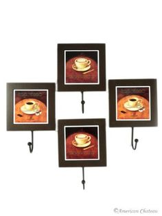 """Set of 4 Italian Coffee Wall Hanger Hooks Kitchen Decor by American Chateau. $16.99. 4 Hooks. Ceramic Insert with Wood Frame. Coffee Design. Cappuccino and Espresso. A coffee lover's dream! This set of 4 coffee themed hooks includes 2 cappuccino and 2 espresso hooks. Each is a print on ceramic, surrounded by a wood frame. The hooks are made of metal. Approximate Dimensions: 8"""" H, 5 1/2"""" W, 1 3/4"""" Depth."""