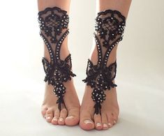EXPRESS SHIPPING black silver beach barefoot Black Beach Sandals Beach  Wedding shoes black Foot jewelry bellydance Bohemian Sandals