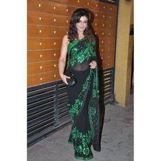 Bollywood Replica - Raveena Tandon in Black Georgette Saree at Filmfare Awards 2013 - 5045 (IB-25)