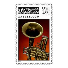 Trumpet Poatage Stamp on Blue Background. This great stamp design is available for customization or ready to buy as is. Of course, it can be sent through standard U.S. Mail. Just click the image to make your own!