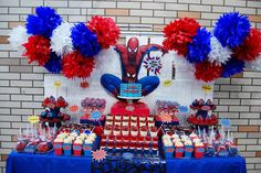 Xavi's The Amazing Spiderman Dessert table!, via Flickr. This is awesome! Little Rey's birthday is coming up and he's wanting Spider-Man...again
