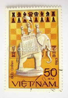 Vietnam postage stamp with elephant by Flaps. - Stock Photo