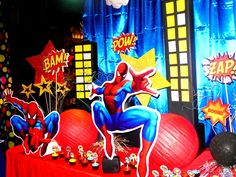 Awesome Superhero decorations!    See more party ideas at CatchMyParty.com!  #superhero #partyideas