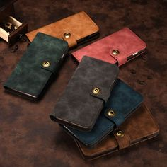 Luxury Flip Wallet+Detachable Magnetic Back Cover 2 in 1 Case For Iphone 7/6 /6S PLUS/ 7 Plus PU Leather Phone Bags Cases Pouch