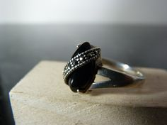 Vintage Silver Onyx and Marcasite Ring by FourSailAccessories, $18.00