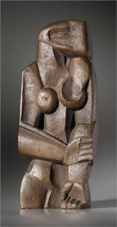 Bronze sculpture, titled Sculpture-Femme debout, was sculpted by the Russian-French sculptor and artist Ossip Zadkine in 1922 - Zadkine Research Art Sculpture, Stone Sculpture, Abstract Sculpture, Contemporary Sculpture, Contemporary Art, Land Art, Art Plastique, Oeuvre D'art, Sculpting