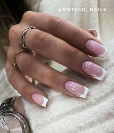French Acrylic Nails, French Tip Nails, Best Acrylic Nails, Pink Gel Nails, Gold Nails, Chic Nails, Stylish Nails, Nail Design Stiletto, Classic Nails