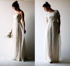 vestito da sposa in avorio e grigio pallido di larimeloom su Etsy