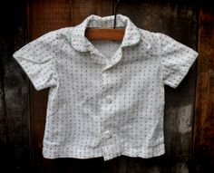 1950s vintage 'Marty McFly' button down shirt with green piping. Baby, age 6-9 months