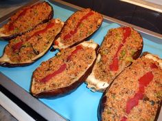 Quinoa Stuffed Eggplants - ** Recipe is good. cook the eggplant longer. Saute all ingredients before adding to the oven. Cook for a longer amount of time. Delicious Vegan Recipes, Yummy Food, Plant Based Nutrition, Eggplant Recipes, Plant Based Eating, Vegan Dinners, Plant Based Recipes, Vegan Life, Going Vegan