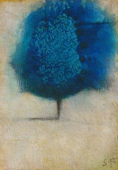 Seth Fitts ~ I LOVE the Indigo color in the tree, the simplicity of the composition, yet the space is perfectly used The tree goes off the page in the top & the side.