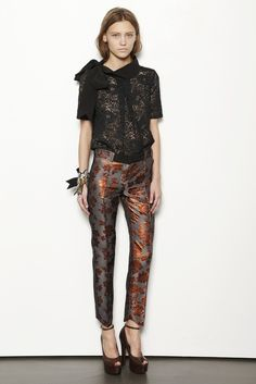 Vera Wang Pre-Fall 2013: Moody jewel tones and shiny jacquard prints were par for the course for Vera Wang.