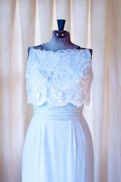 1960's Cocktail Dress // Blue Silk Chiffon with Chantilly Lace Overlay by Jean of California