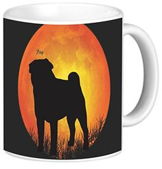 Rikki Knight Pug Dog Silhouette by Moon Photo Quality Ceramic Coffee Mug >>> For more information, visit image link. (This is an affiliate link) Moon Photos, Dog Silhouette, Photo Quality, Pugs, Are You Happy, Garden Tools, Knight, Coffee Mugs, Image Link