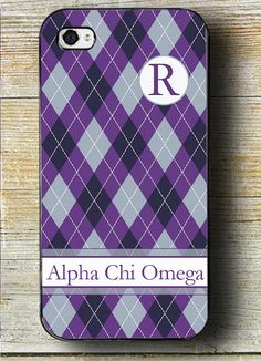Alpha Chi Omega Phone Case  Purple & White by AllStarTeamProducts