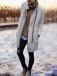 Outerwear - Fashion High Collar Irregular Zipper Outerwear Source by maryaffe - Trendy Outfits, Fashion Outfits, Womens Fashion, Fashion Trends, Fall Outfits, Fashion Edgy, Fashion Ideas, Outfits 2016, Woman Outfits