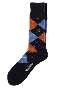 navy and orange argyle socks.