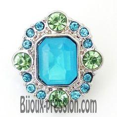 Bouton pression métal et strass perle verte et bleue