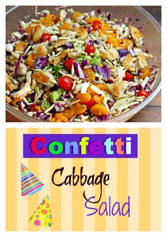 Confetti Cabbage Salad is vividly bright, incredibly tasty and livens up any meal. Especially a party! Just add balloons. From CulinaryEnvy.com