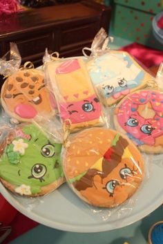 Fun cookie favors at a Shopkins birthday party! See more party planning ideas at CatchMyParty.com!