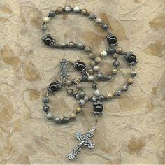 Grey Agate Ornate Rosary