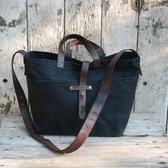 bb7c20039 Waxed Canvas Tote Coal Diaper Bag, Leather Handle, Leather Bag, Canvas  Leather,