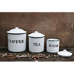 Enameled Metal Coffee Tea Sugar Containers Jars W/ Lids White Finish Country Home Kitchen D
