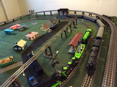 Lionel trains on the layout.
