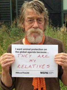 """Actor John Hurt telling the United Nations why Animals matter... """"je veux que la protection animale devienne prioritaire devant les instances internationales, car nous sommes parents""""."""