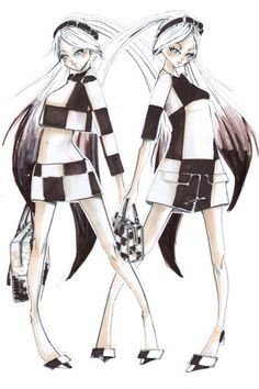 "Marc Jacobs Designs for Virtual Opera ""The End."" A sketch of Hatsune Miku in Louis Vuitton Photo By Copyright LouisVuitton and Crypton Future Media, Inc. www.piapro.net"