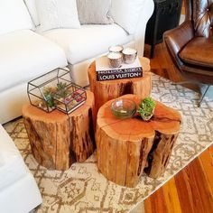 Design Tip: Who says you need one coffee table – have THREE! We grouped three of… Design Tip: Who says you need one coffee table – have THREE! We grouped three of our Reclaimed Tree Stump Tables to create a coffee table. Tree Stump Coffee Table, Garden Coffee Table, Diy Coffee Table, Diy Table, Tree Trunk Table, Garden Table, Coffee Mugs, Reclaimed Wood Projects, Wooden Projects