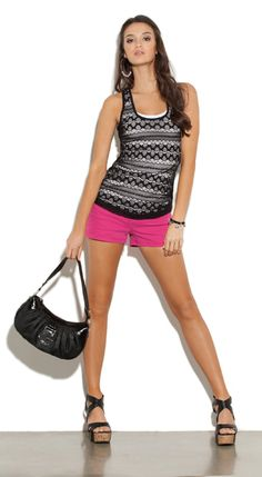G by GUESS Amaris Racerback Tank & Dion Short outfit: Spring Fever!