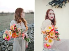 This colorful poppy #wedding bouquet is so perfect for Spring! From http://greenweddingshoes.com/spring-inspiration-with-bhldn-pretty-flowers/  Photo Credit: http://jnicholsphoto.com/  Flowers by http://thenouveauromantics.com/