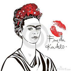 portrait-frida-kahlo-flowers-lips-signature-frida-kahlo-portrait-women-example-strong-woman Frida Kahlo Portraits, Strong Women, Lips, Woman, Illustration, Flowers, Art, Art Background, Kunst