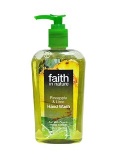 Faith in Nature Pineapple & Lime Hand Wash . This wonderfully uplifting hand wash is a blend of organic Pineapple, Lime and Mango. It's like sunshine in a (recycled) bottle.