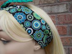 Reversible Headband Dolly Bow Wire Headband Summer Headband Spring Headband Blue and Green Floral Headband Tween Headband Teen Headband by foreverandrea on Etsy
