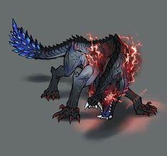 Ebony Odogaron Weird Creatures, Fantasy Creatures, Mythical Creatures, Monster Hunter Memes, Monster Hunter World, Fantasy Monster, Monster Art, Fantasy Dragon, Fantasy Art