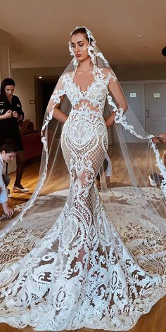 36 Lace Wedding Dresses That You Will Absolutely Love lace wedding dresses unique mermaid nude with train valdrinsahiti official Stunning Wedding Dresses, Unique Dresses, Dream Wedding Dresses, Bridal Dresses, Wedding Gowns, Lace Wedding, Mermaid Wedding, Corset Back Wedding Dress, Wedding Jumpsuit
