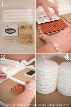 DIY: printed candles . . . ROTFLMAO . . . This is a lovely idea but I simply cannot imagine the talent required to get good clear lines and letters.  Let's call this what it is ADVANCED stamping.  OMG